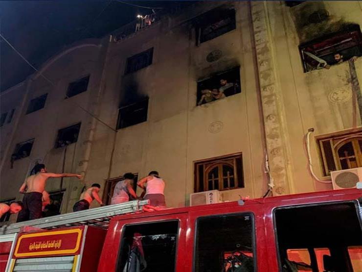 بالصور.. أسقف الجيزة يتفقد كنيسة مارمينا بعد حريقها ويكشف حجم الخسائر
