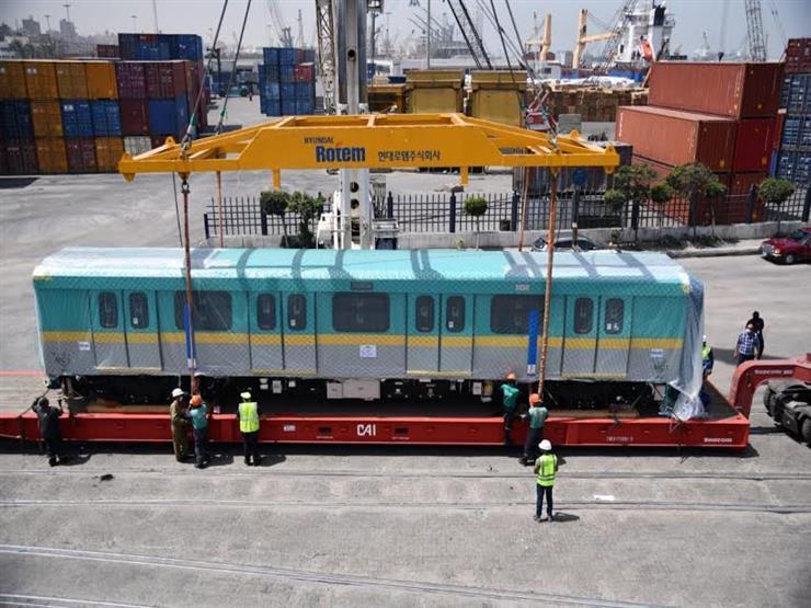 للخط الثالث للمترو.. وزير النقل يعلن وصول القطار التاسع من الـ32 قطار الكوريين