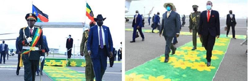 Leaders of South Sudan, Uganda and DRC Arrive in Addis Ababa