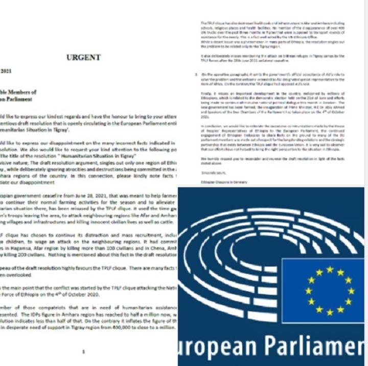 Ethiopian Diaspora in Germany Writes letter of Objection to EU