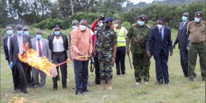 Uhuru Sets 5,000 Guns on Fire at Police Center [PHOTOS]