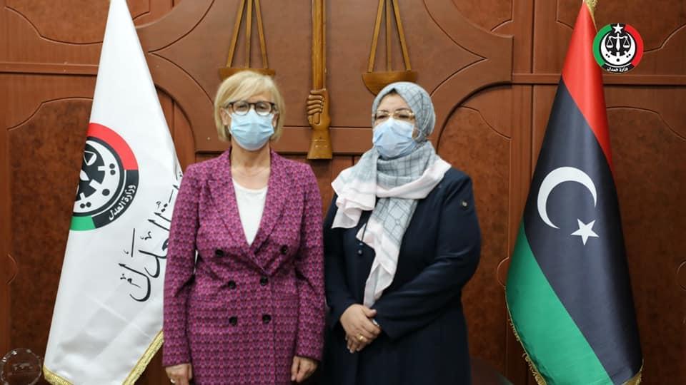وزيرة العدل تلتقي رئيسة البعثة الأوروبية