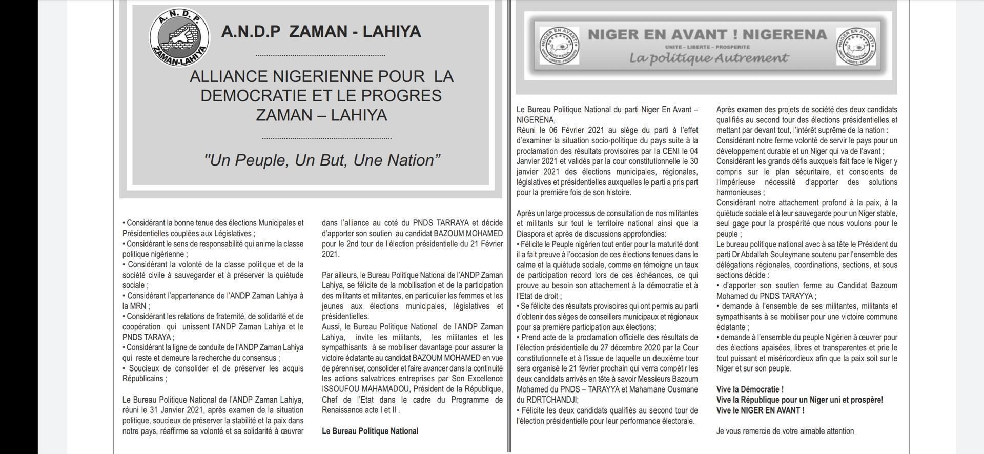 Niger/Elections Les partis ANDP et Nigerena réaffirment leur soutien au candidat Bazoum Mohamed au 2ème tour de l'élection présidentielle