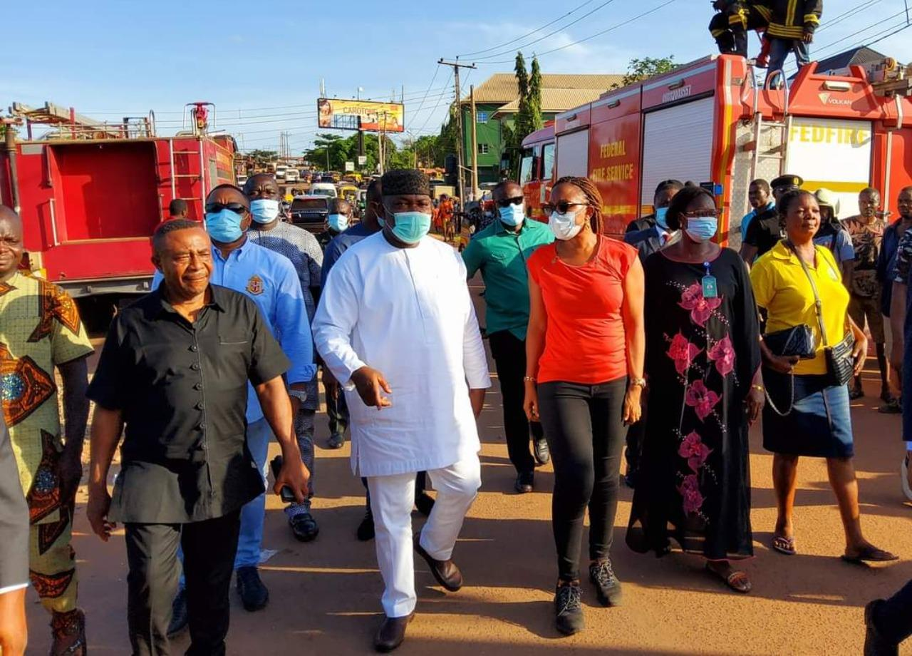 Gov. Ugwuanyi leads rescue operation at accident scene (Photos)