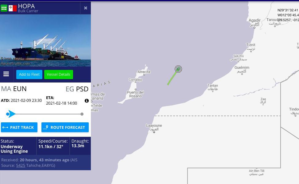 جمعية صحراوية تفضح تورط سفينة أجنبية في نهب الفوسفات الصحراوي في صفقة مع الاحتلال