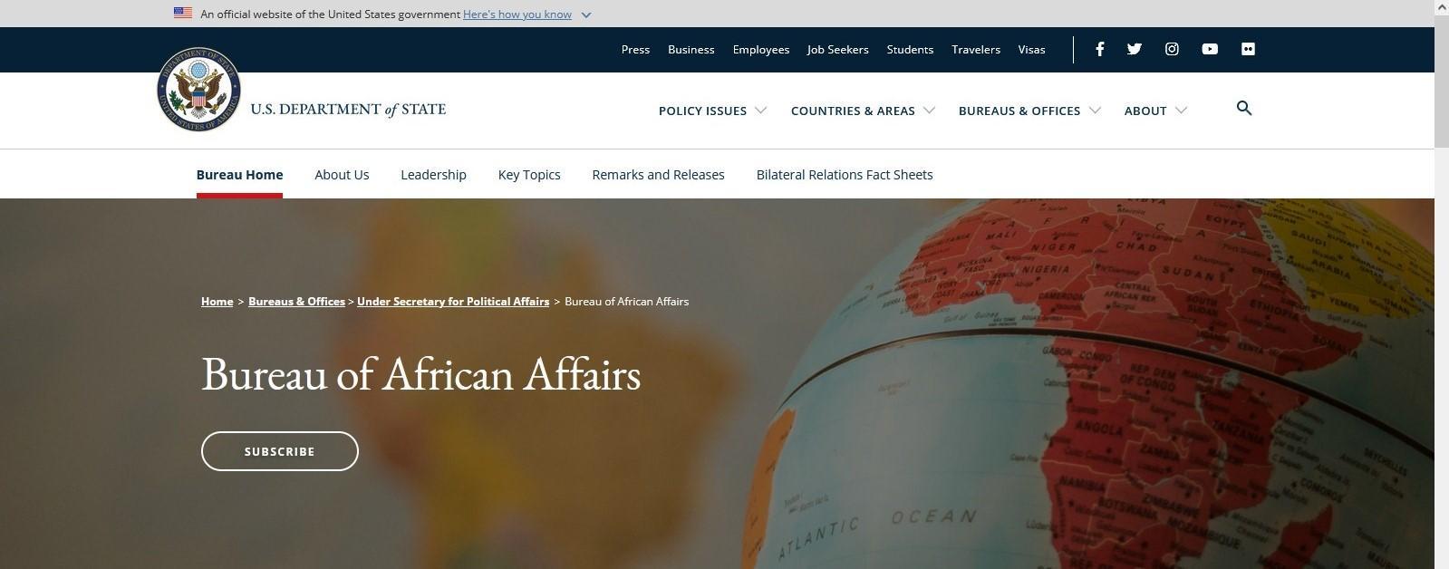 خريطة الصحراء الغربية بحدودها المعترف بها دوليا على واجهة الموقع الرسمي لمكتب الشؤون الأفريقية التابع للخارجية الأمريكية
