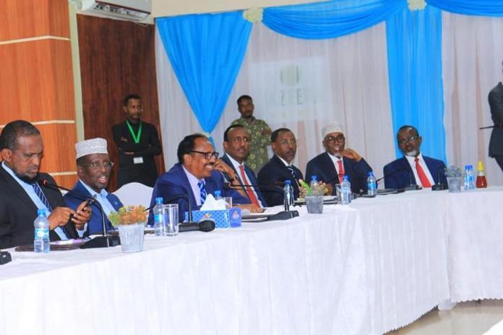 نتائج اللقاء بين رؤساء ولايات إقليمية وأعضاء اتحاد المرشحين الرئاسيين في مقديشو