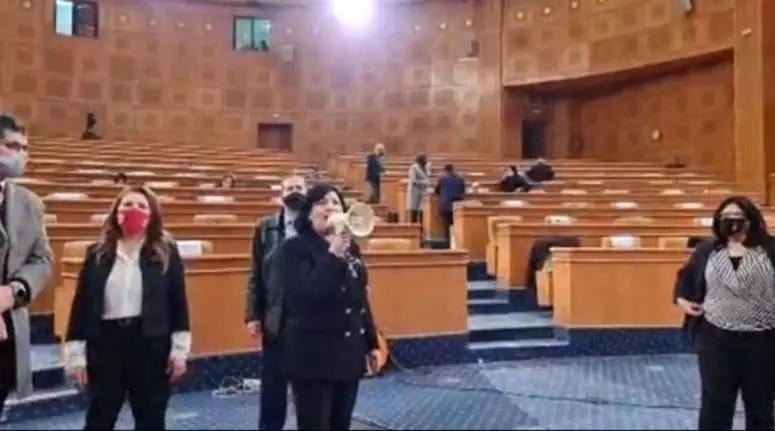 عبير موسي تعطل الجلسة العامة بالبرلمان مستخدمة مكبر صوت