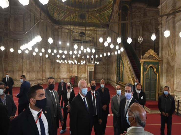 الرئيس التونسي يزور مسجد عمرو بن العاص ومتحف الحضارة (صور)